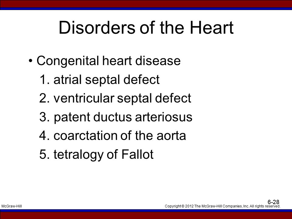 Disorders of the Heart • Congenital heart disease