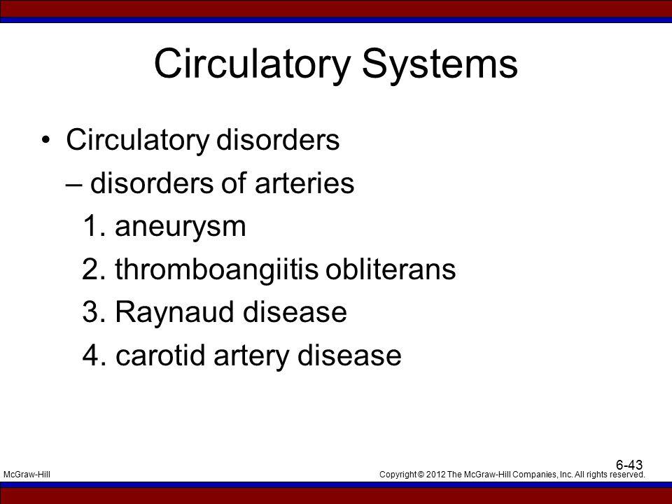 Circulatory Systems Circulatory disorders – disorders of arteries