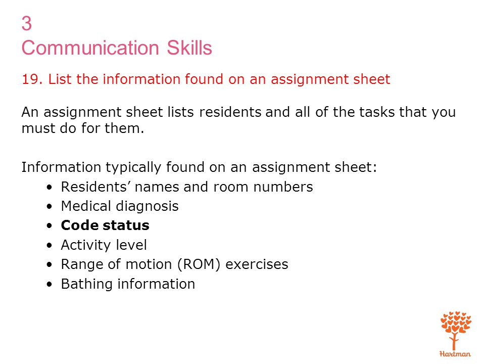 19. List the information found on an assignment sheet