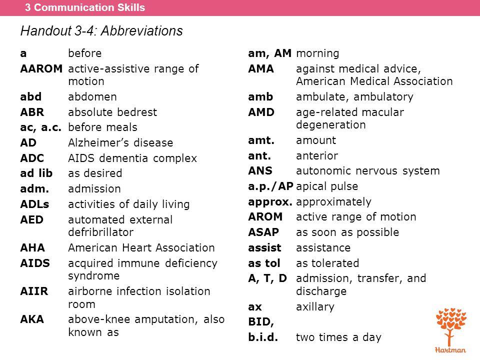 Handout 3-4: Abbreviations
