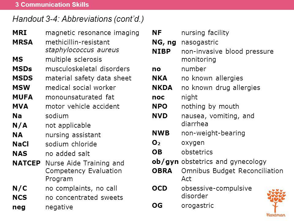 Handout 3-4: Abbreviations (cont'd.)
