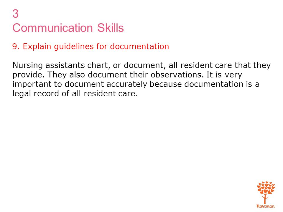 9. Explain guidelines for documentation