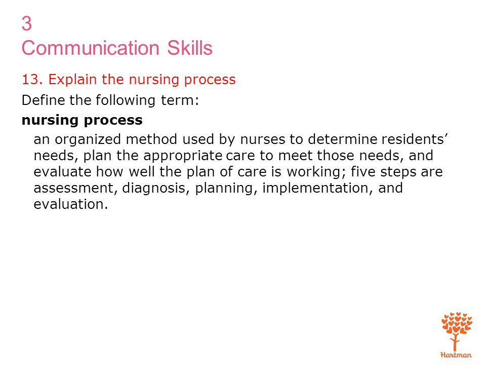 13. Explain the nursing process