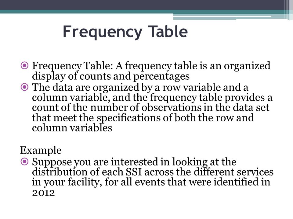 Frequency Table Frequency Table: A frequency table is an organized display of counts and percentages.