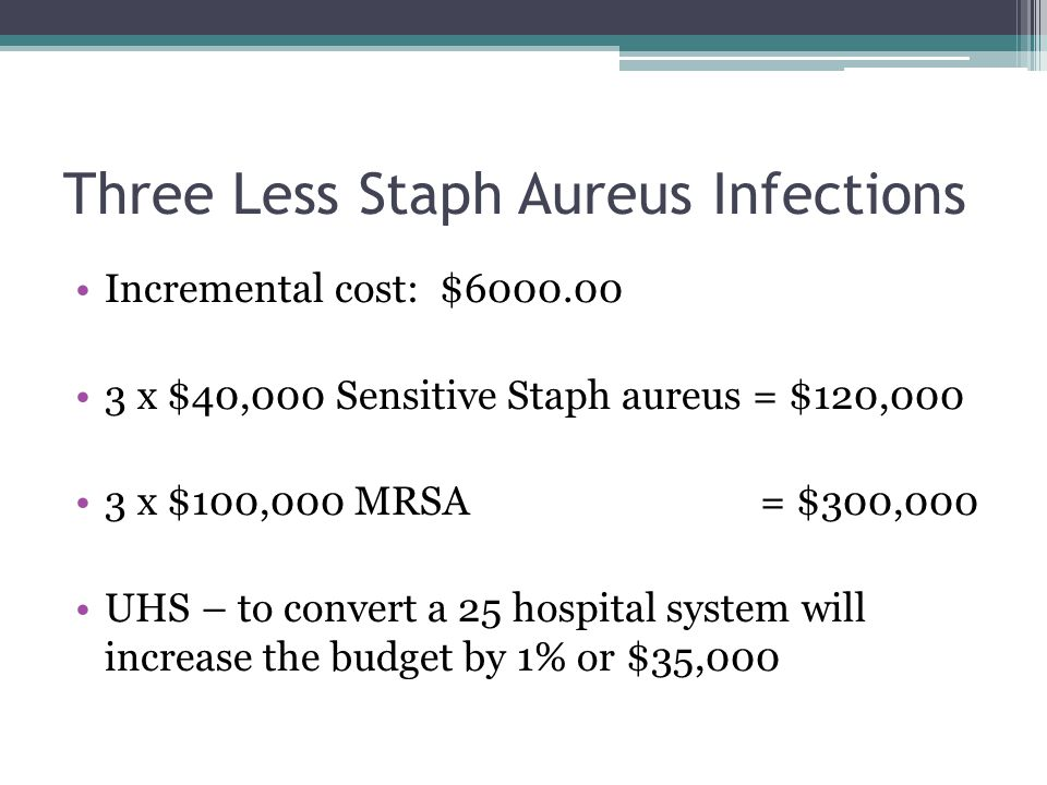 Three Less Staph Aureus Infections