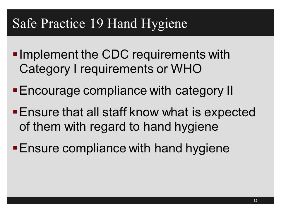 Safe Practice 19 Hand Hygiene