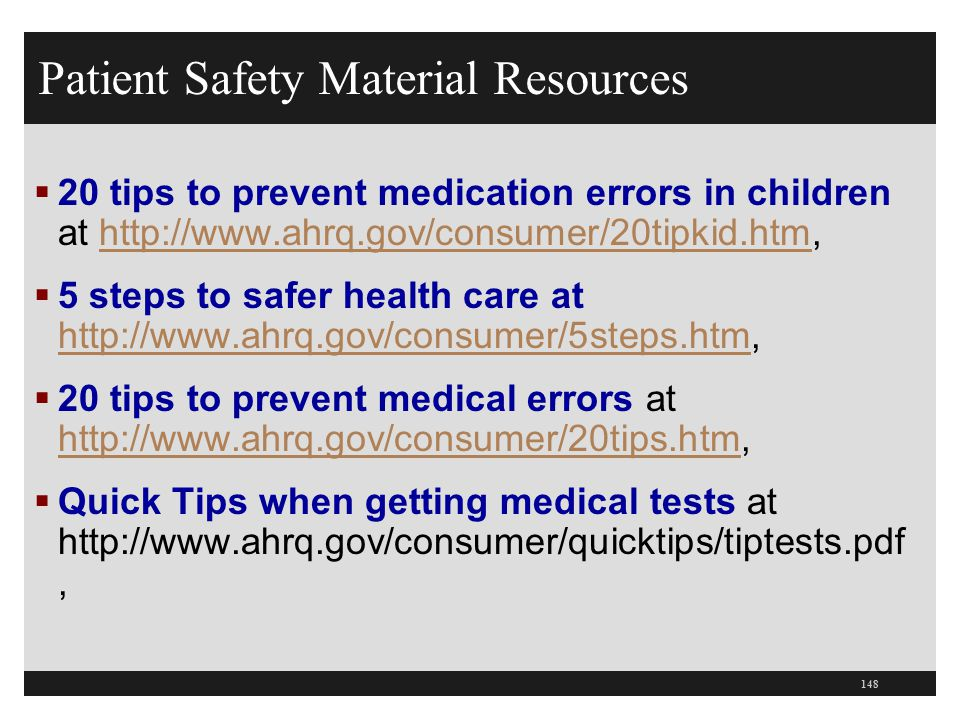 Patient Safety Material Resources
