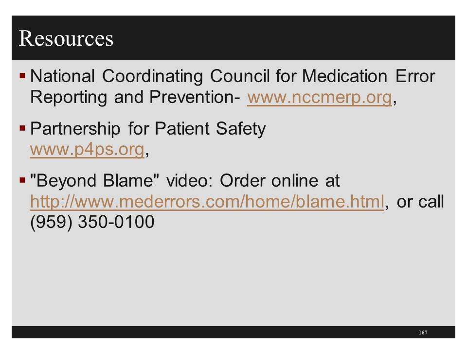 Resources National Coordinating Council for Medication Error Reporting and Prevention- www.nccmerp.org,
