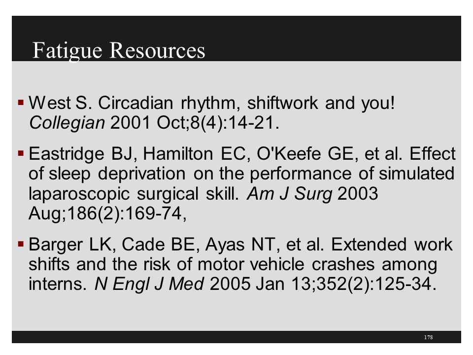 Fatigue Resources West S. Circadian rhythm, shiftwork and you! Collegian 2001 Oct;8(4):14-21.