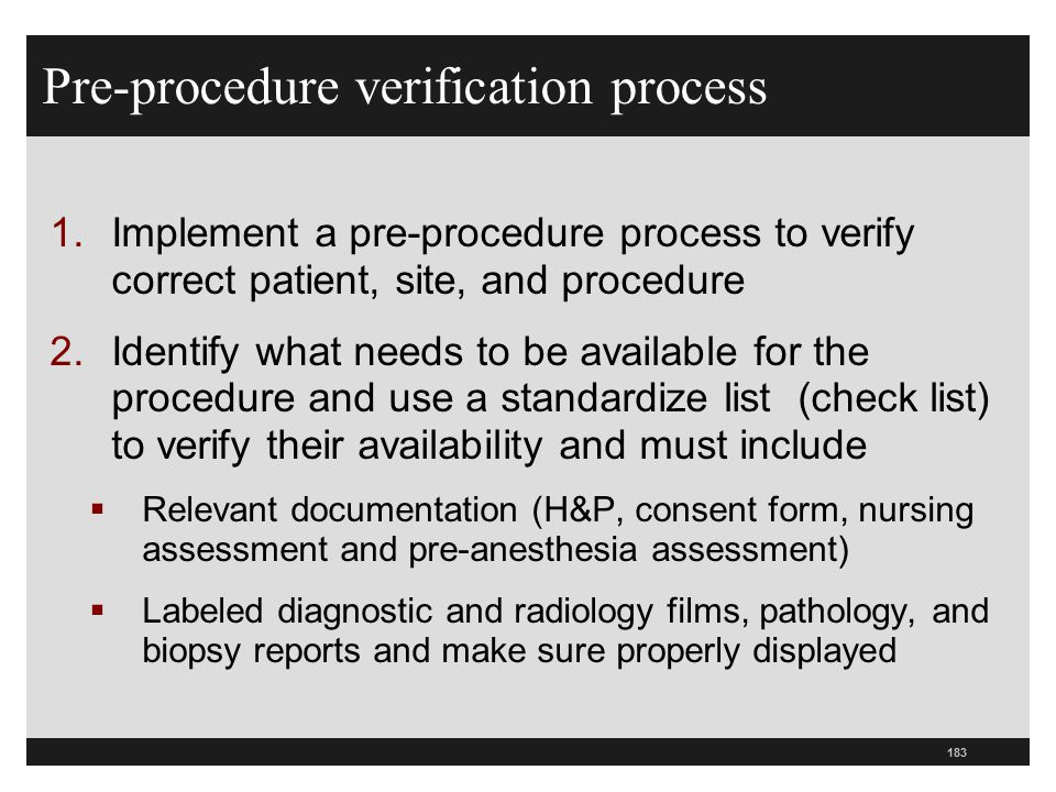 Pre-procedure verification process