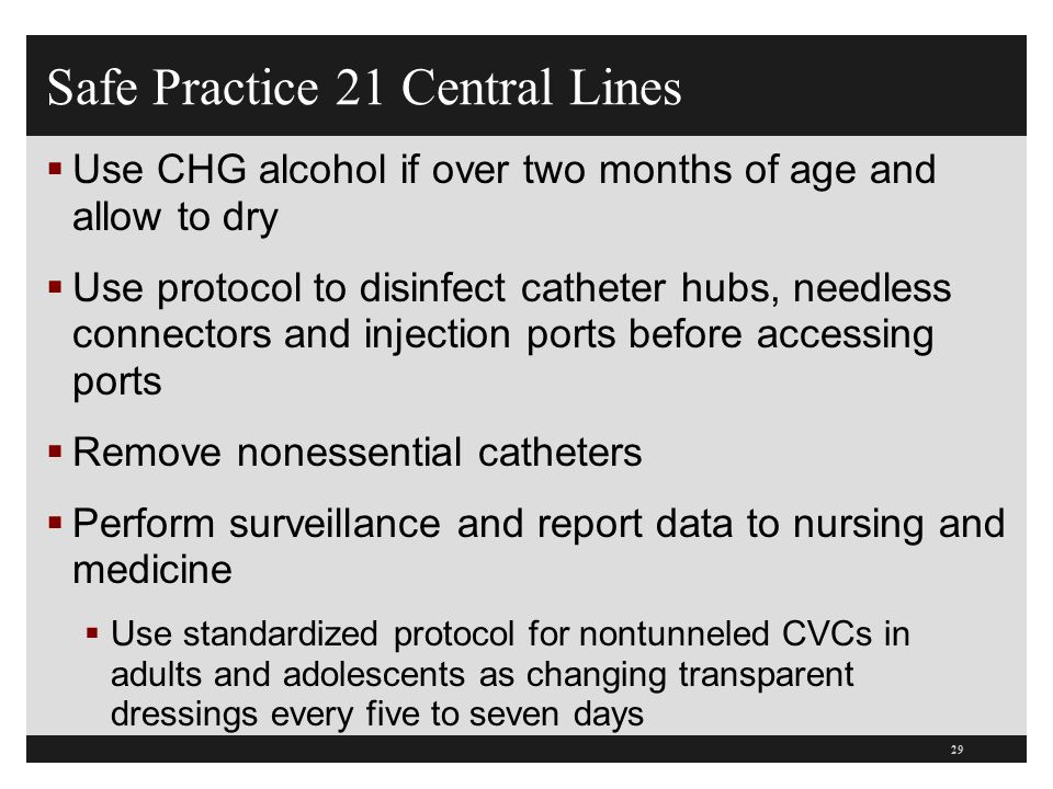 Safe Practice 21 Central Lines