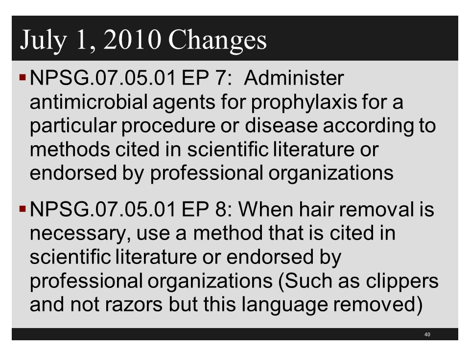 July 1, 2010 Changes