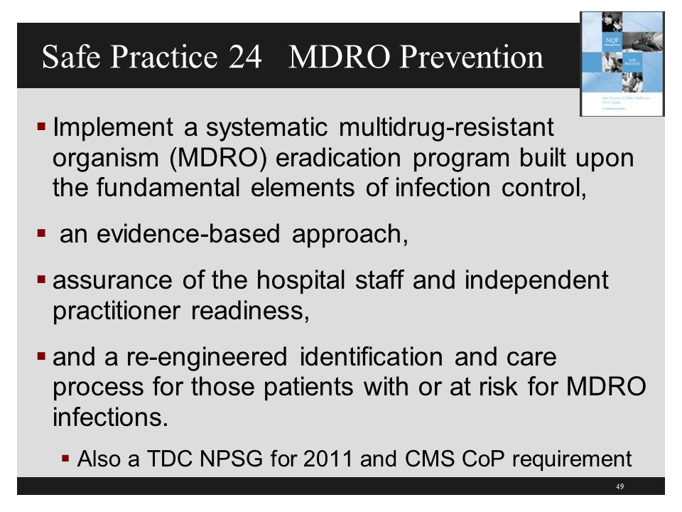 Safe Practice 24 MDRO Prevention