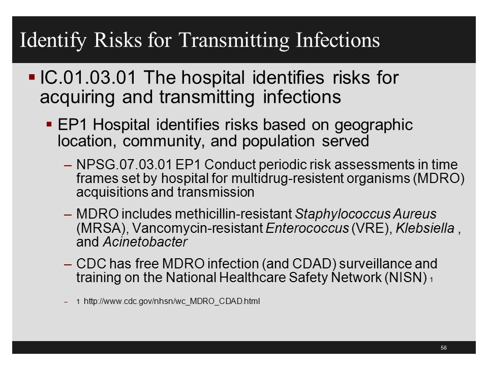 Identify Risks for Transmitting Infections