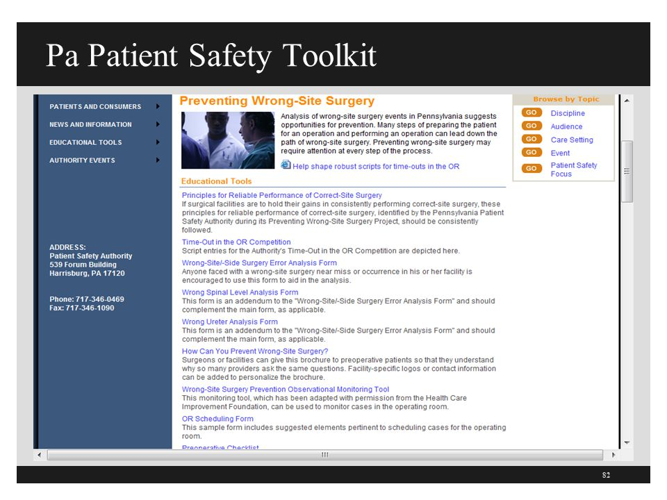 Pa Patient Safety Toolkit