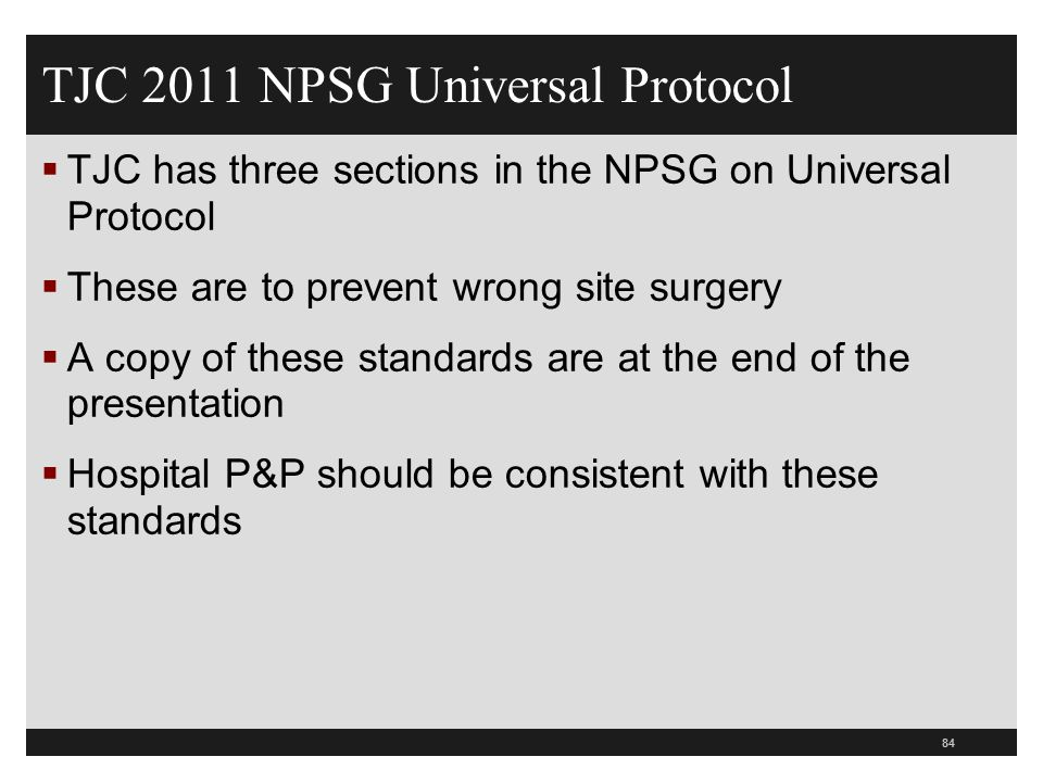 TJC 2011 NPSG Universal Protocol