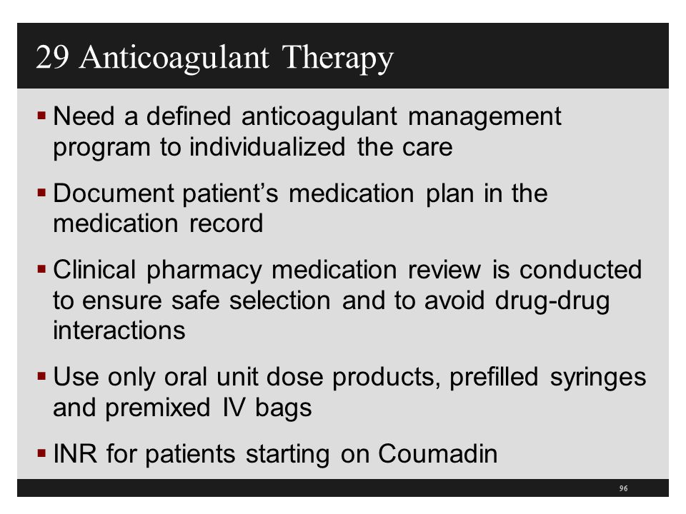 29 Anticoagulant Therapy