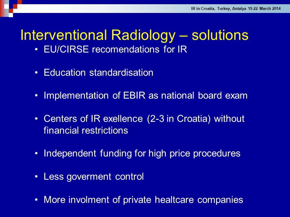 Interventional Radiology – solutions