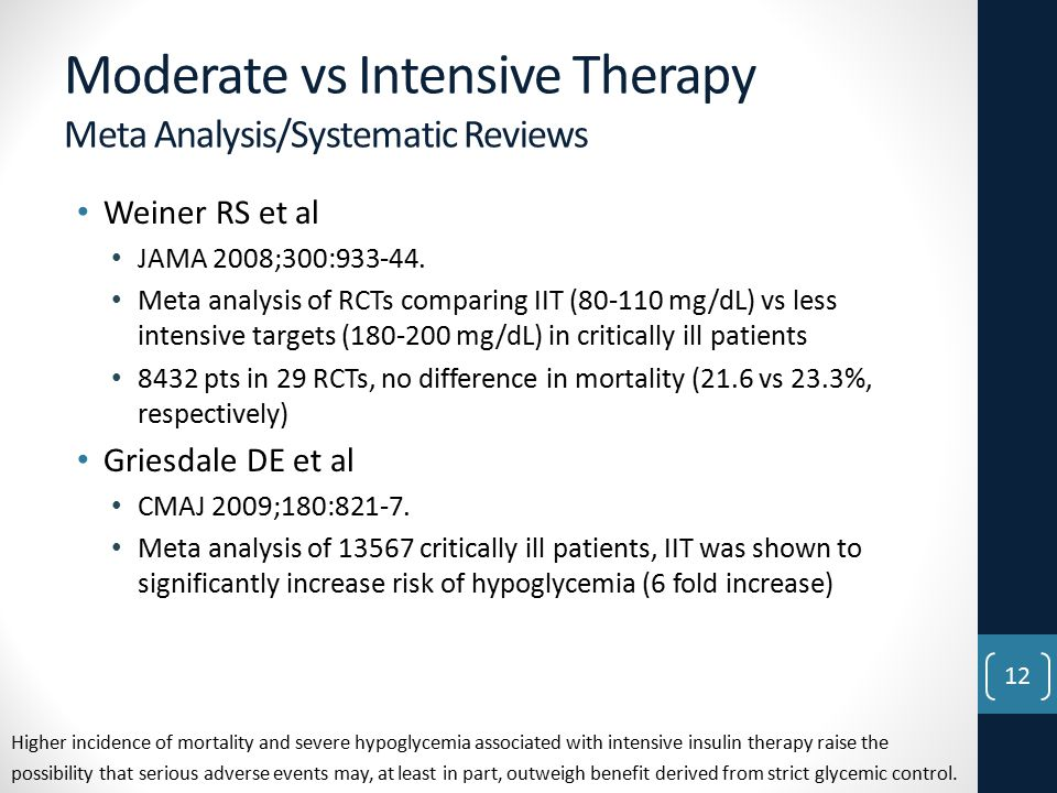 Moderate vs Intensive Therapy Meta Analysis/Systematic Reviews