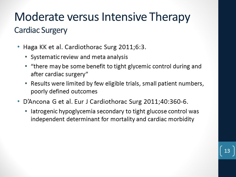 Moderate versus Intensive Therapy Cardiac Surgery