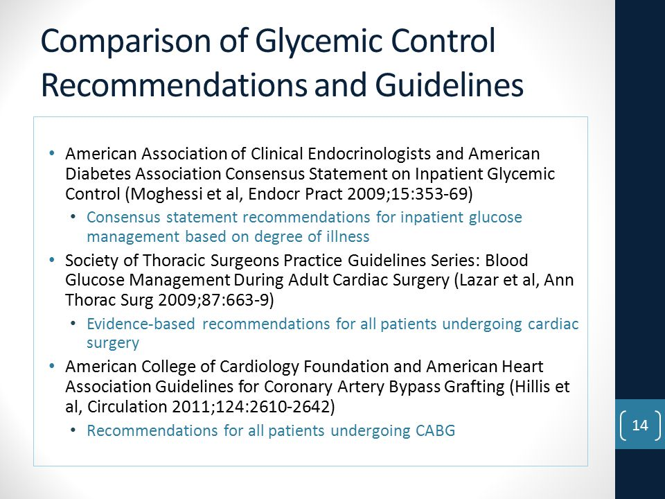 Comparison of Glycemic Control Recommendations and Guidelines