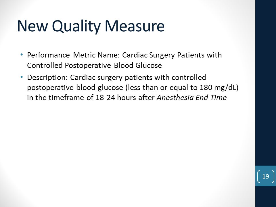 New Quality Measure Performance Metric Name: Cardiac Surgery Patients with Controlled Postoperative Blood Glucose.