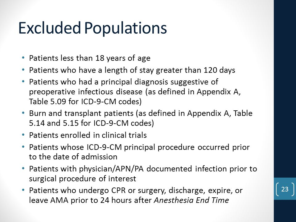 Excluded Populations Patients less than 18 years of age