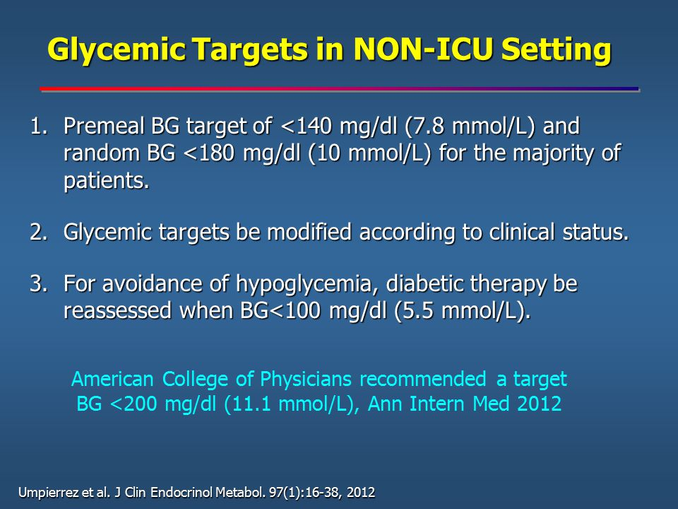 Glycemic Targets in NON-ICU Setting