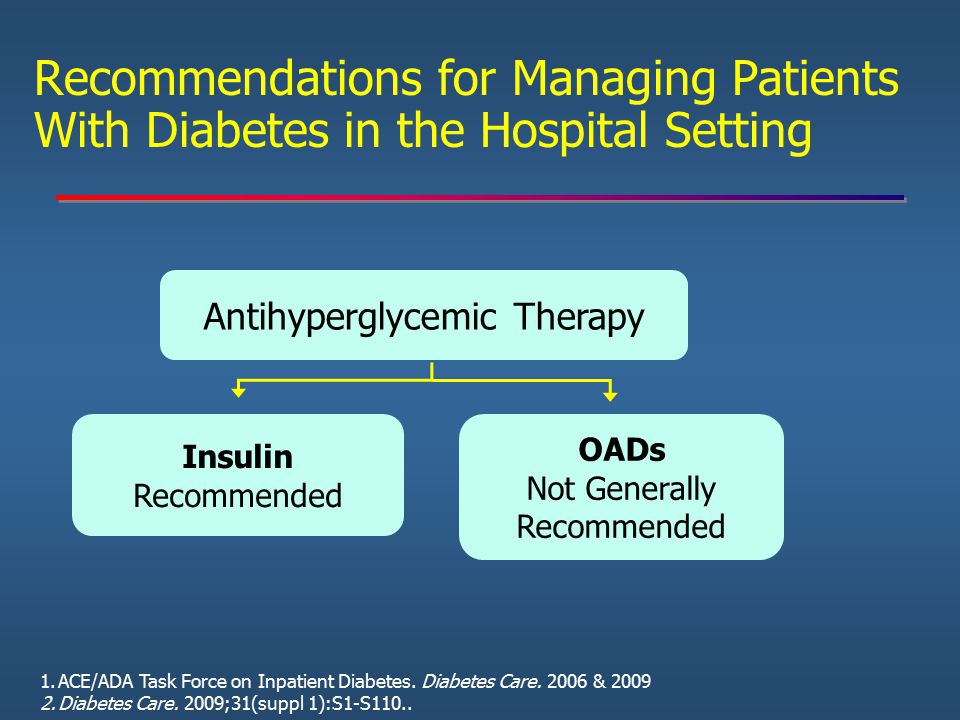Recommendations for Managing Patients With Diabetes in the Hospital Setting