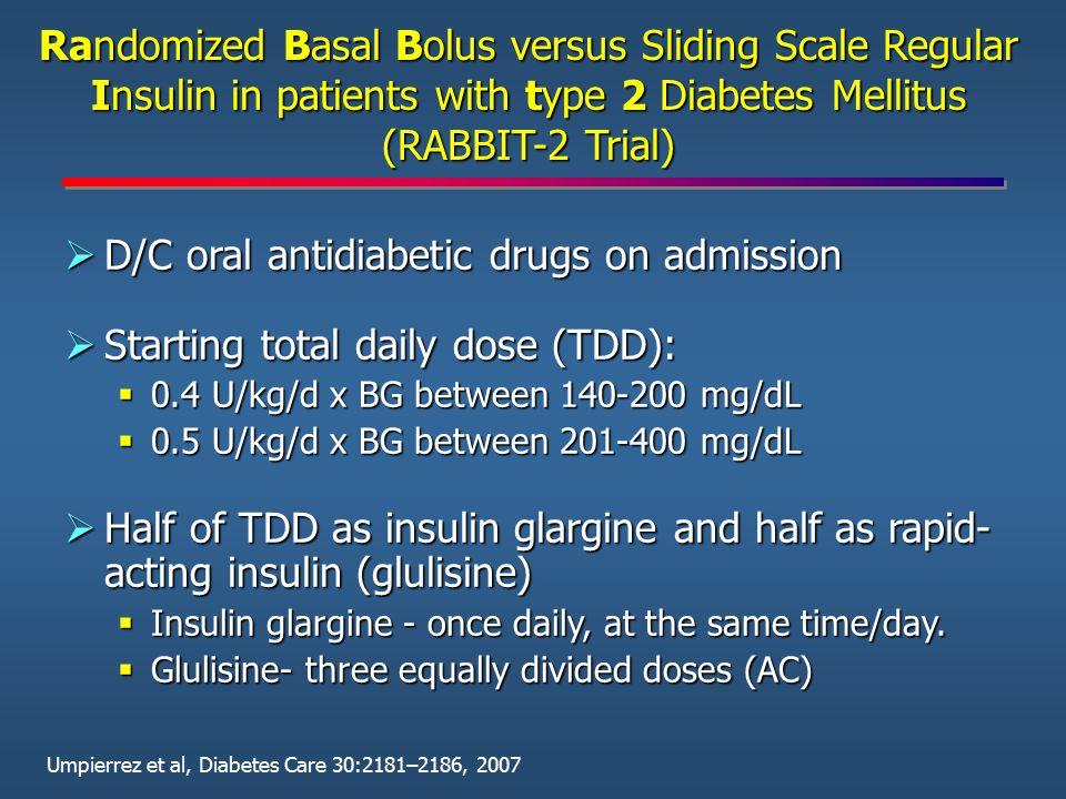 D/C oral antidiabetic drugs on admission