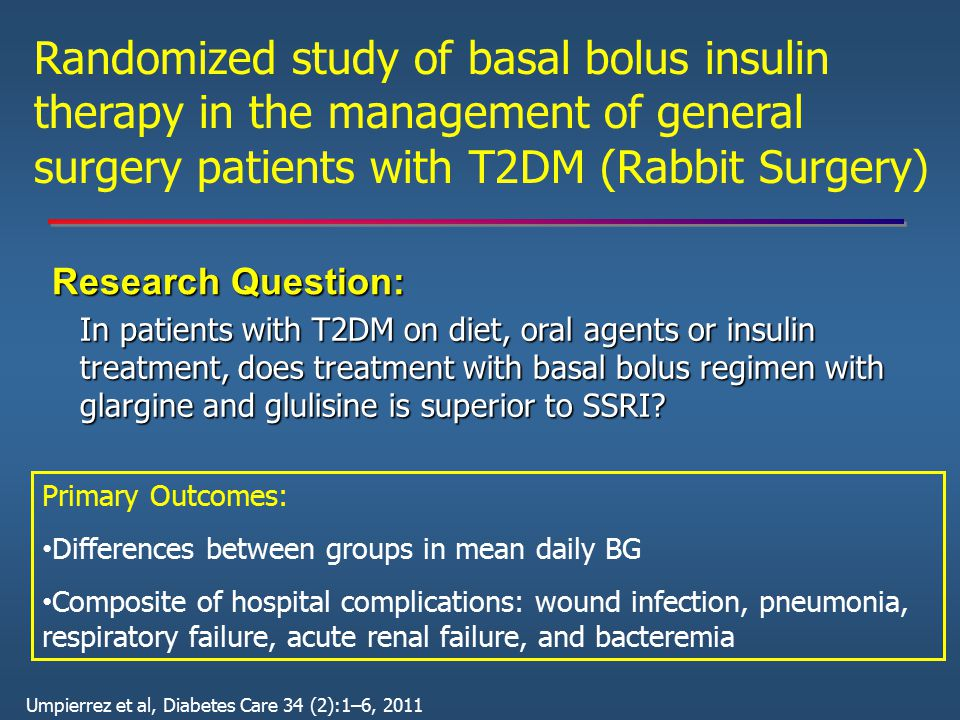 Randomized study of basal bolus insulin therapy in the management of general surgery patients with T2DM (Rabbit Surgery)