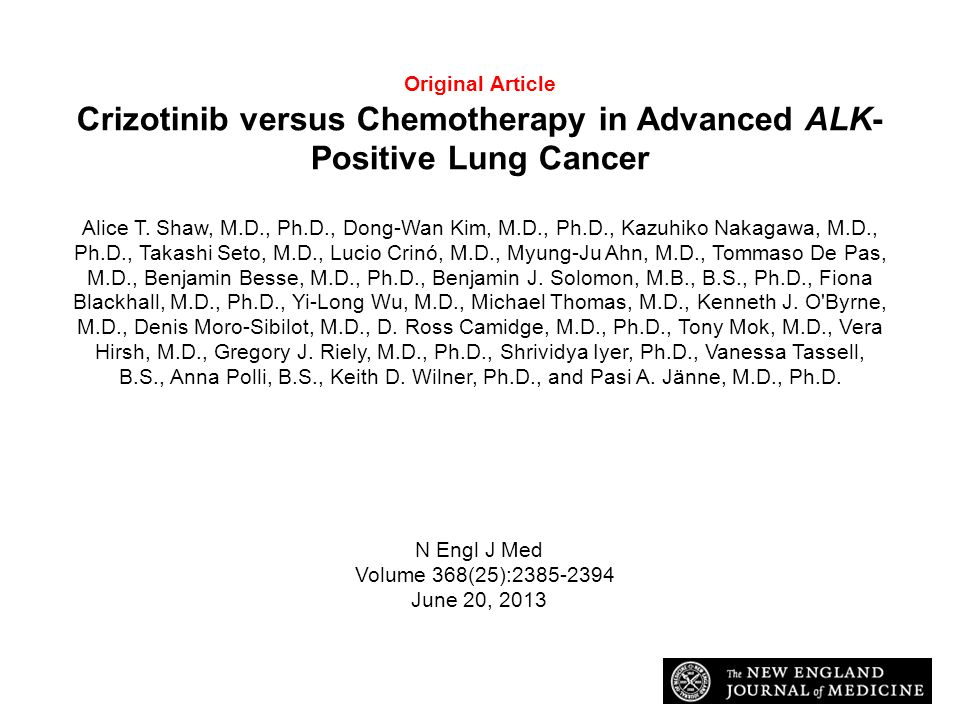 Original Article Crizotinib versus Chemotherapy in Advanced ALK-Positive Lung Cancer