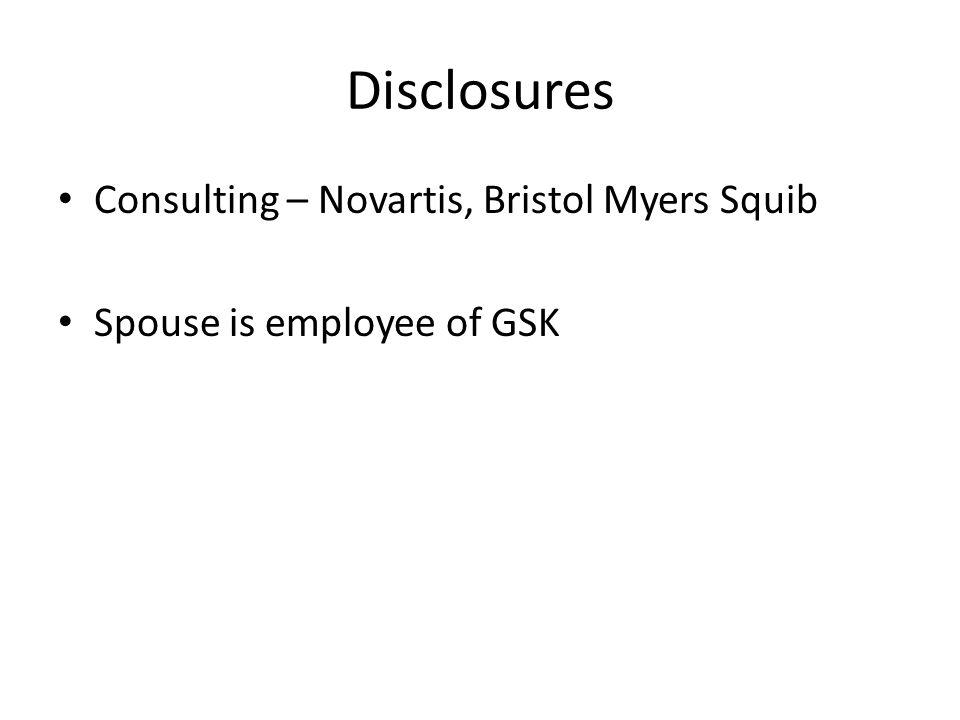 Disclosures Consulting – Novartis, Bristol Myers Squib
