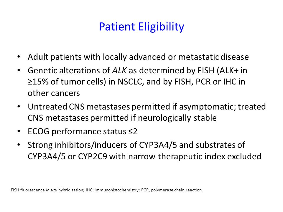 Patient Eligibility Adult patients with locally advanced or metastatic disease.