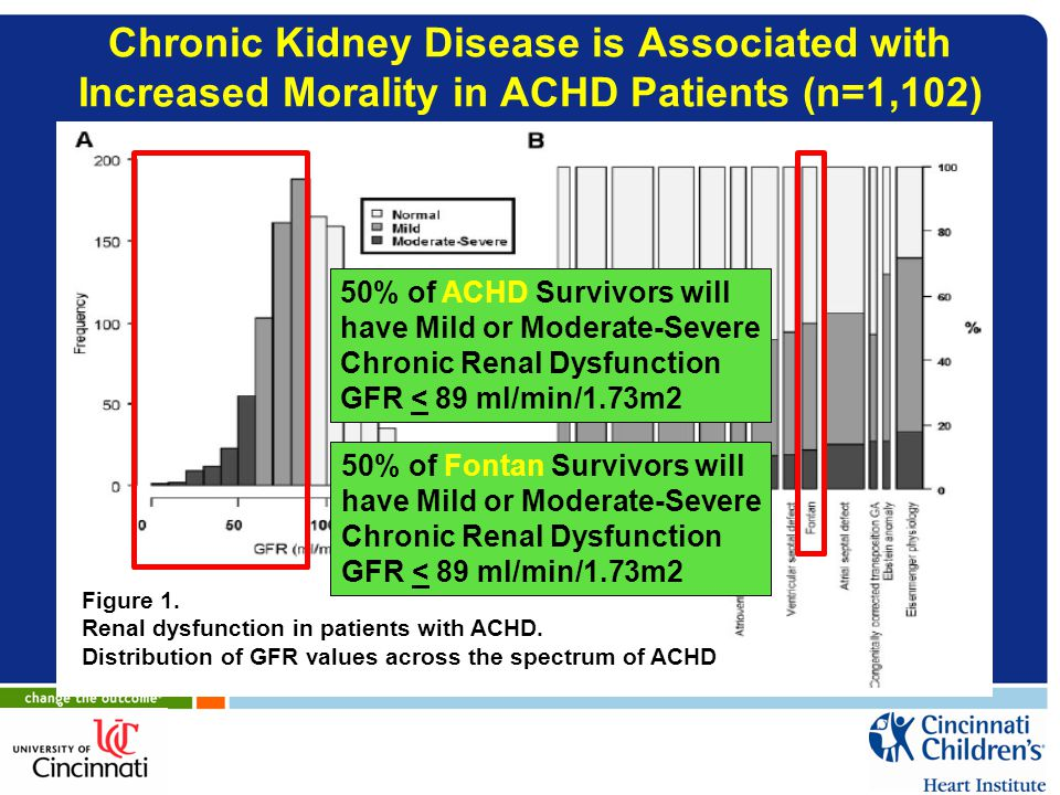 Chronic Kidney Disease is Associated with Increased Morality in ACHD Patients (n=1,102)