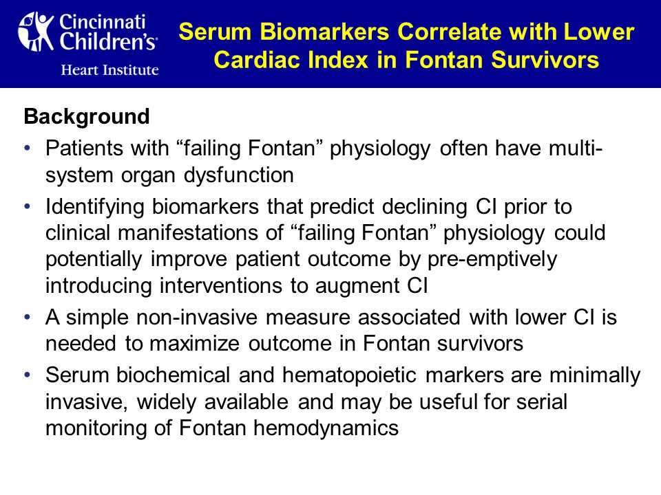 Serum Biomarkers Correlate with Lower Cardiac Index in Fontan Survivors