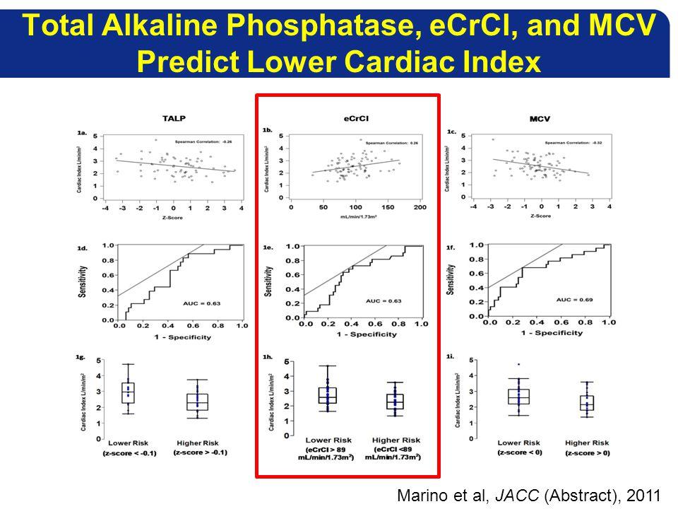 Total Alkaline Phosphatase, eCrCl, and MCV Predict Lower Cardiac Index