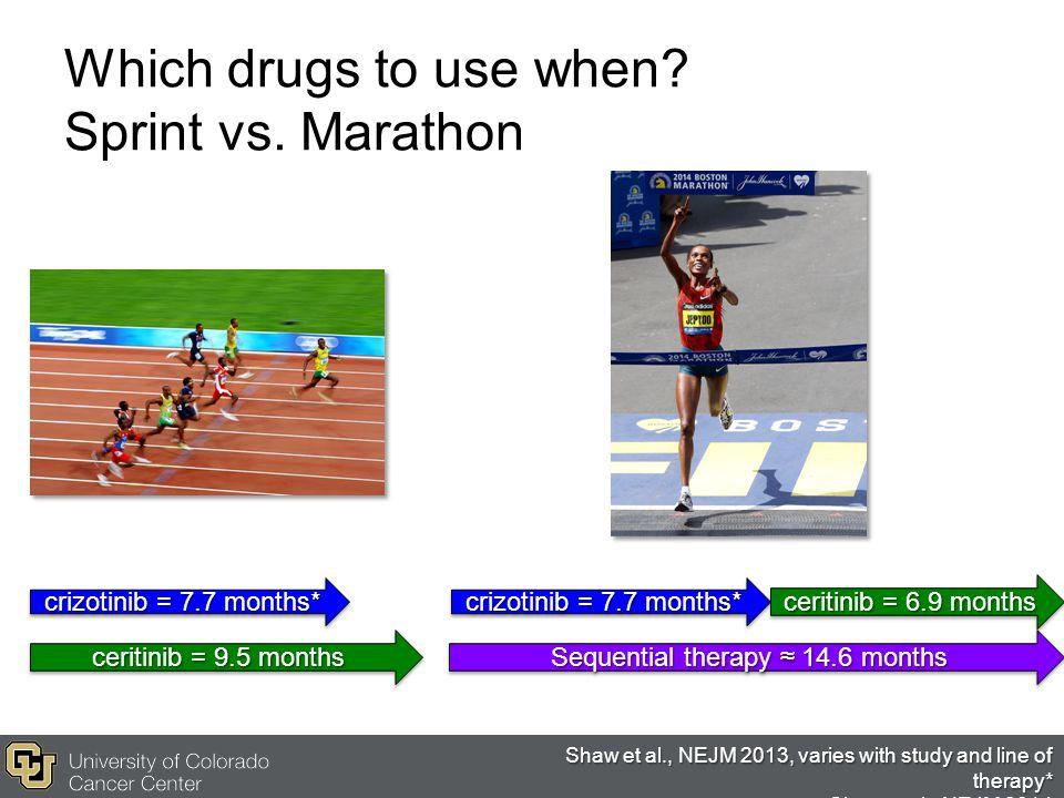 Which drugs to use when Sprint vs. Marathon