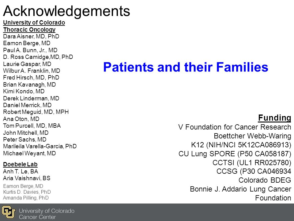 Acknowledgements Patients and their Families Funding