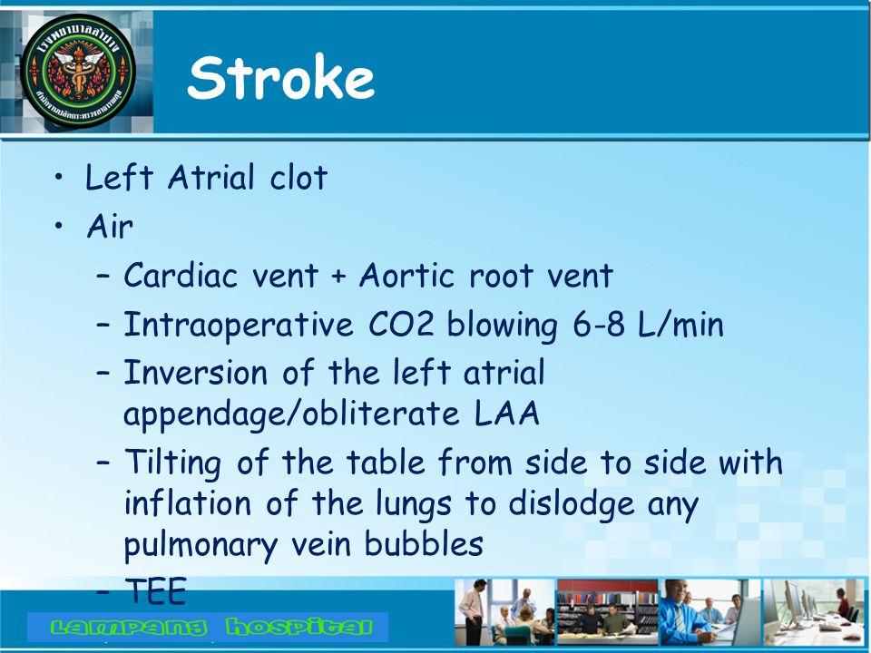 Stroke Left Atrial clot Air Cardiac vent + Aortic root vent