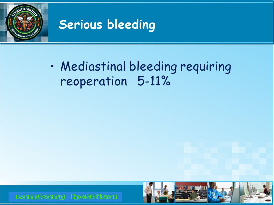 Serious bleeding Mediastinal bleeding requiring reoperation 5-11%