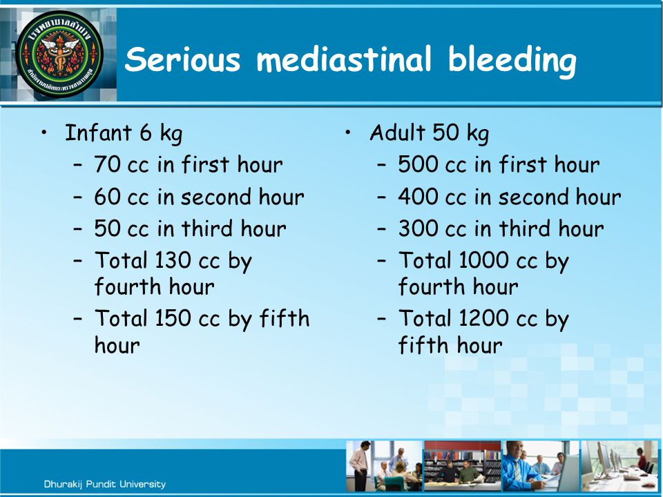 Serious mediastinal bleeding