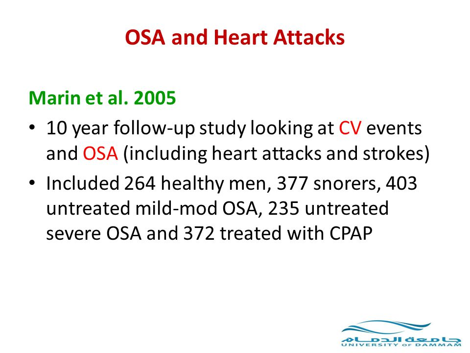OSA and Heart Attacks Marin et al. 2005