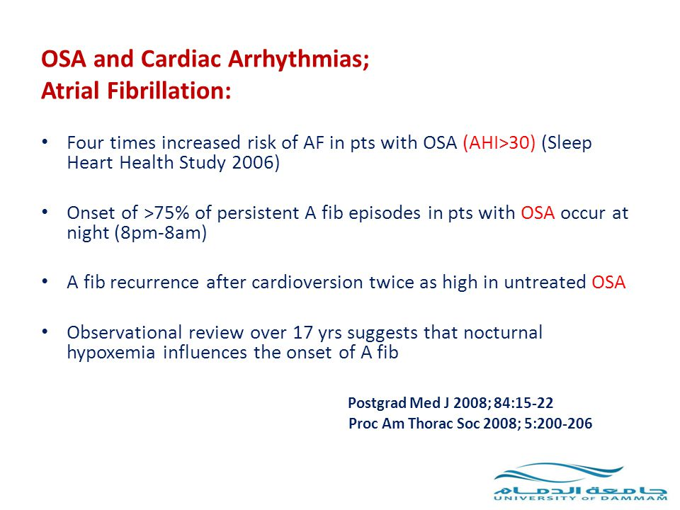 OSA and Cardiac Arrhythmias; Atrial Fibrillation: