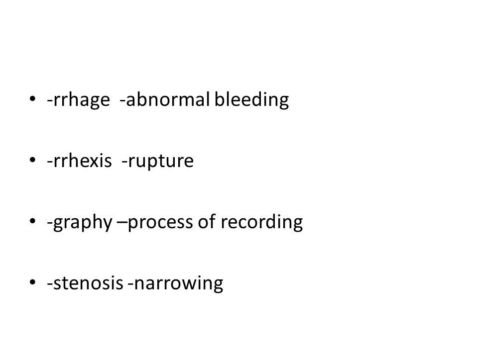 -rrhage -abnormal bleeding