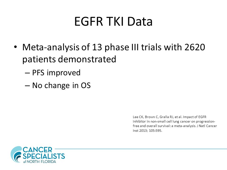 EGFR TKI Data Meta-analysis of 13 phase III trials with 2620 patients demonstrated. PFS improved. No change in OS.