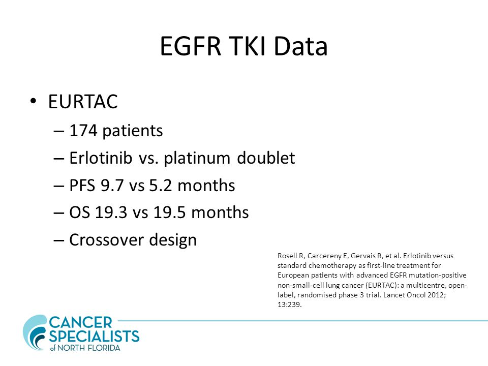 EGFR TKI Data EURTAC 174 patients Erlotinib vs. platinum doublet