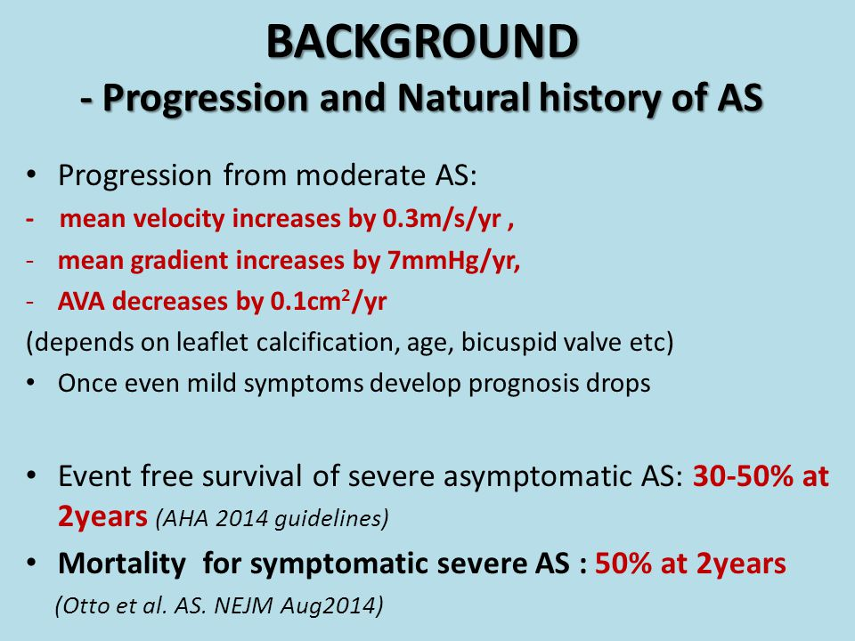 BACKGROUND - Progression and Natural history of AS