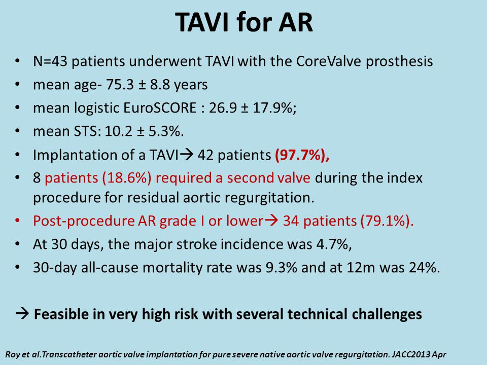 TAVI for AR N=43 patients underwent TAVI with the CoreValve prosthesis