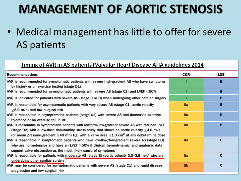 MANAGEMENT OF AORTIC STENOSIS